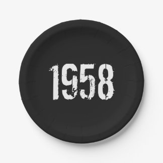 Born in 1958 60th Birthday Year Paper Plate