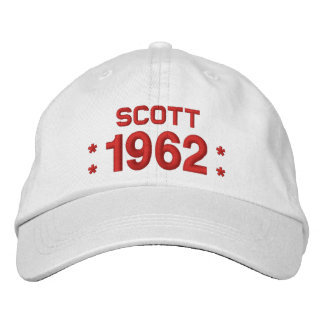 Born in 1962 or Any Year 55th Birthday W03D WHITE Embroidered Hat