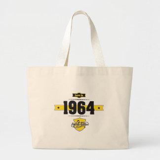 born in 1964 (choco&yellow) large tote bag