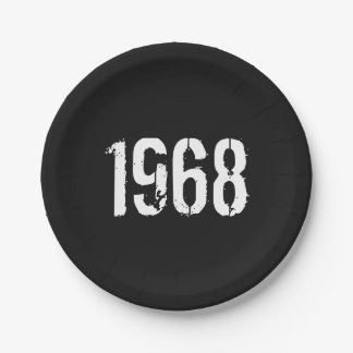 Born in 1968 50th Birthday Year Paper Plate