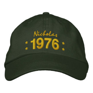 Born in 1976 or Any Year 40th Birthday V07E GREEN Embroidered Hat