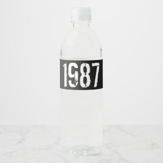 Born in 1987 30th Birthday Year Water Bottle Label