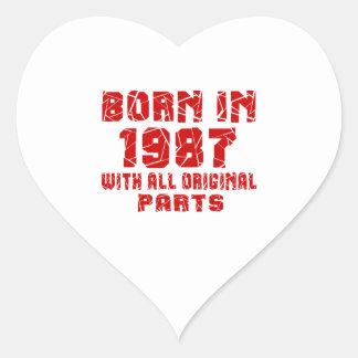 Born In 1987 With All Original Parts Heart Sticker