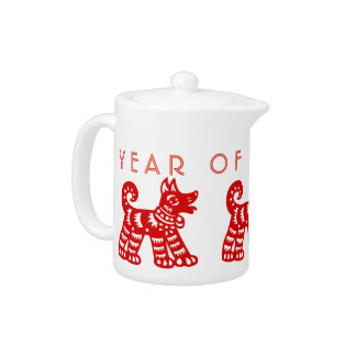 Born in Fire Dog Year Chinese Zodiac Teapot