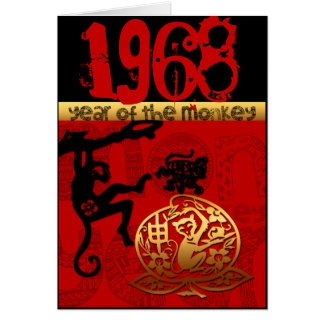 Born in Monkey Year 1968 - Chinese astrology Card