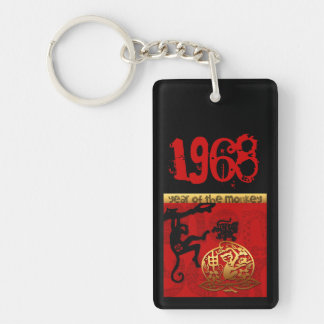 Born in Monkey Year 1968 - Monogram Personalized Keychain