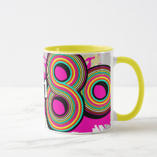 """Born in the 80's"" pink grey logo retro mug"