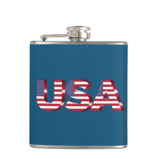 Born in the USA text Hip Flask