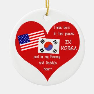Born in Two Places - Korean adoption Keepsake Round Ceramic Ornament