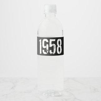 Born in Year 1958 60th Birthday Water Bottle Label