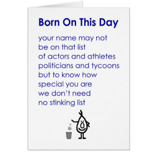 Born On This Day - a funny birthday poem Card