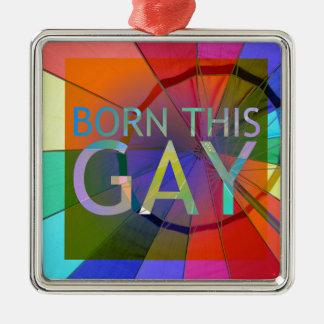 Born This Gay Silver-Colored Square Ornament