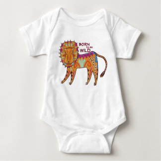 """Born to be Wild"" Folk Art Lion Baby Bodysuit"