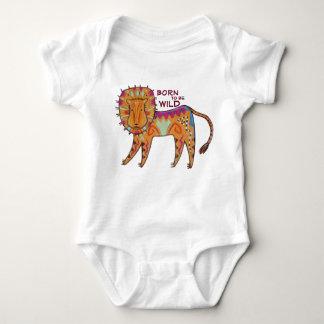 """Born to be Wild"" Folk Art Lion Baby Bodysuit"