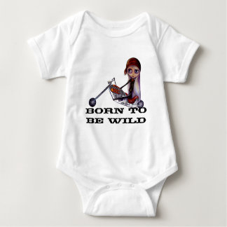 Born to Be Wild Motorcycle Harley Chopper Babe Baby Bodysuit