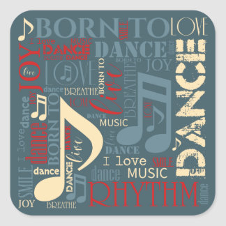 Born to Dance Blue ID277 Square Sticker