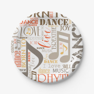 Born to Dance Brown ID277 7 Inch Paper Plate