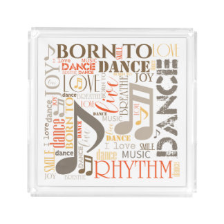 Born to Dance Brown ID277 Acrylic Tray