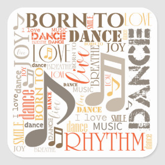Born to Dance Brown ID277 Square Sticker