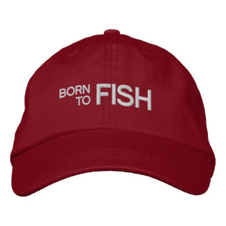 Born to Fish Red Embroidered Hat