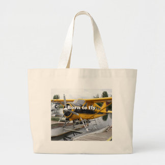 Born to fly: Beaver float plane Large Tote Bag