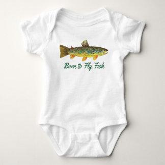 """Born to Fly Fish"" Humorous Baby Fishing Baby Bodysuit"