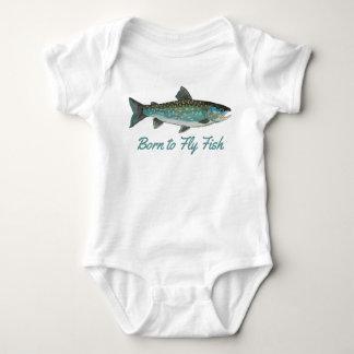 """Born to Fly Fish"" Humorous Fishing Baby Bodysuit"