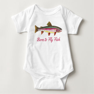 """""""Born to Fly Fish"""" Pink Rainbow Trout Baby Bodysuit"""
