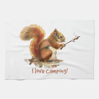 BORN TO GO CAMPING Fun Squirrel Cute Animal Quote Hand Towel