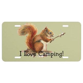 BORN TO GO CAMPING Fun Squirrel Cute Animal Quote License Plate