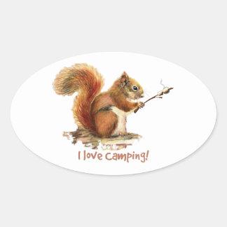 BORN TO GO CAMPING Fun Squirrel Cute Animal Quote Oval Sticker