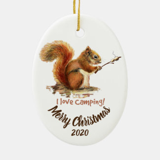 BORN TO GO CAMPING Fun Squirrel Love Camping Quote Ceramic Ornament