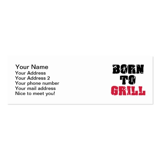 Born to grill business card templates