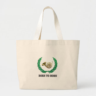 born to horn wreath large tote bag