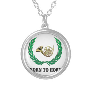 born to horn wreath silver plated necklace