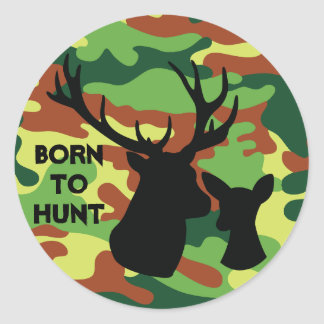 Born to Hunt Deer Buck Camo Army Colors Hunter Classic Round Sticker