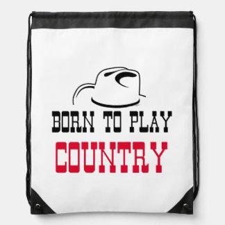 Born to play country drawstring bag