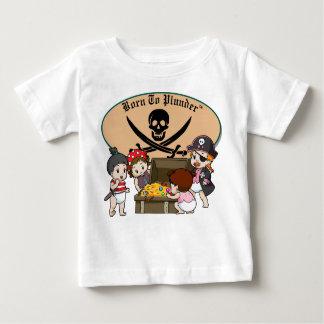 Born To Plunder - Baby Girl Pirates & Treasure Baby T-Shirt