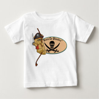 Born To Plunder - Teddy Bear Pirate on Rope Baby T-Shirt