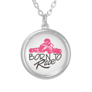Born To Race Silver Plated Necklace