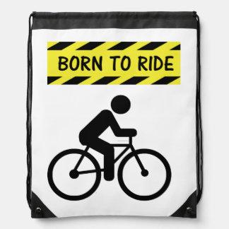 """""""Born to Ride"""" drawstring bag"""