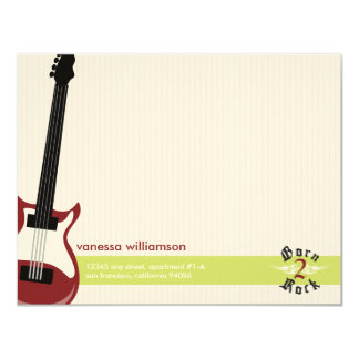 Born to Rock! Custom Flat Note Cards (red)