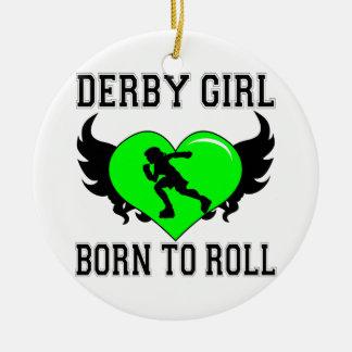 Born to Roll: Derby Girl Ceramic Ornament