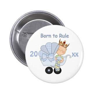 Born to Rule/New Baby with Crown+Baby Buggy 2 Inch Round Button