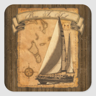 Born To Sail Square Sticker