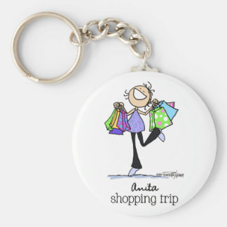 Born to shop - Anita Shopping Trip Basic Round Button Keychain