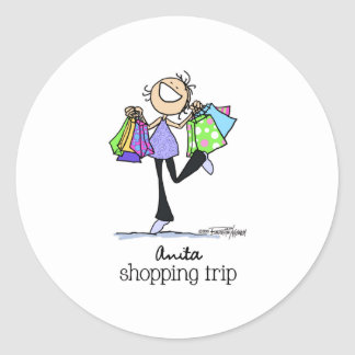 Born to shop - Anita Shopping Trip Classic Round Sticker