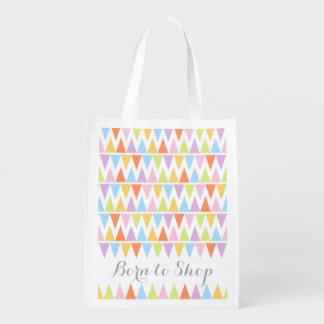 Born to shop patterned colorful bunting bag
