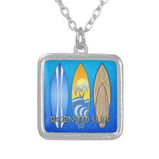 Born To Surf Silver Plated Necklace
