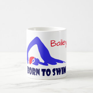Born to swim, freestyle swimmer, personalised coffee mug
